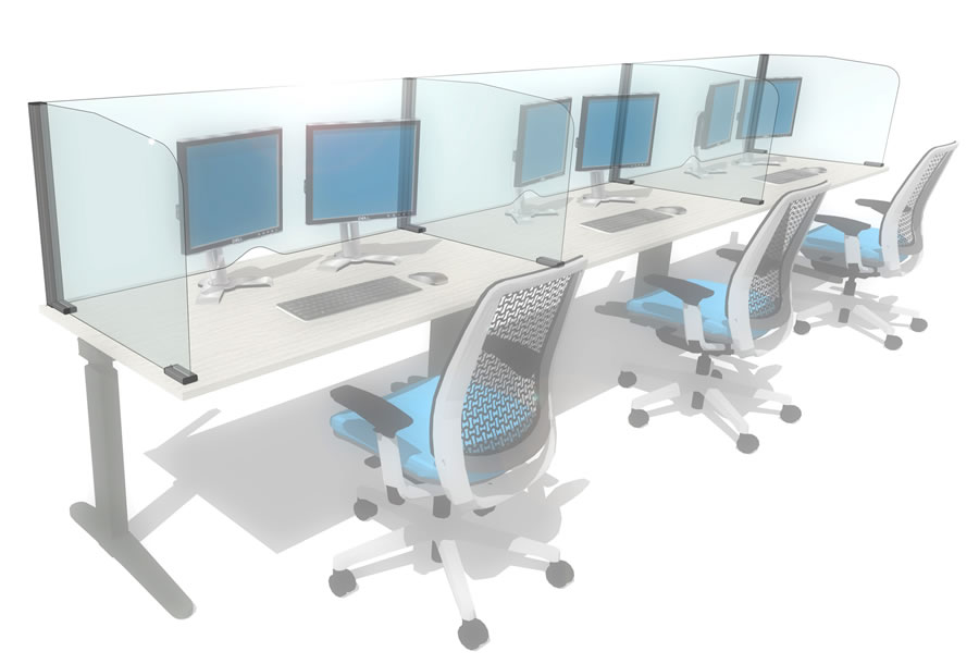 Cough/sneeze screens to protect employees working on bench style desking